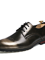 Men's Shoes Office & Career / Casual Leather Oxfords Black/Gold/Burgundy