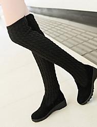 Черный / Коричневый-Женский-Для праздника / На каждый день-Материал на заказ клиента-На танкетке-Модная обувь-Ботинки