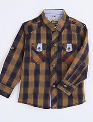 Menino de Camisa,Casual Houndstooth Algodão Outono Amarelo