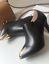 Черный-Женский-На каждый день-Кожа-На шпильке-Ботинки-Ботинки