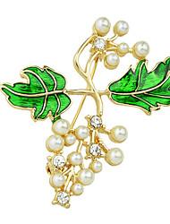 Imitation Pearl Enamel Branch Shape Brooches