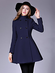Women's Casual/Daily Vintage Trench CoatSolid / Patchwork Stand Winter Blue / Black / Yellow Wool / Cotton Thick