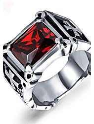 Anéis Grossos Rubi Gema Aço Inoxidável Durável Moda Vintage Estilo Punk Personalizado Vermelho JóiasCasamento Festa Diário Casual