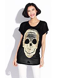 HANBELLE® Damen Rundhalsausschnitt Kurze Ärmel T-Shirt Schwarz / Weiß-447#