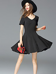 FRMZ  Going out Simple Sheath DressSolid Sweetheart Knee-length / Above Knee Short Sleeve Black Polyester