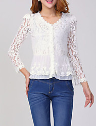 Women's Lace Solid White Blouse,V Neck Long Sleeve
