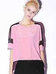 novo antes ocasional bloco blousecolor em torno do pescoço manga comprimento das mulheres / diária simples verão