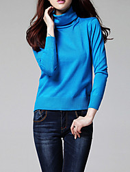 Women's Casual/Daily Simple Regular PulloverSolid  Multi-color