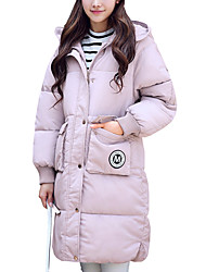 Women's Long Padded CoatStreet chic Loose Thick Warm Fashion Casual/Daily Solid Long Sleeve Hooded
