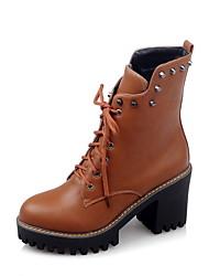 Women's Boots Fall / Winter Comfort / Round Toe Wedding / Outdoor / Dress Chunky Heel Split Joint / Yellow /
