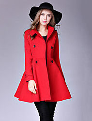 Women's Casual/Daily Street chic Pea CoatsSolid Stand Long Sleeve Winter Red / Yellow Wool / Cotton Medium