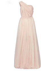 A-Line One Shoulder Floor Length Tulle Formal Evening Dress with Pleats