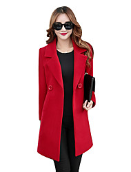 Women's Elegant Formal Street chic Trench Coat Plus Size Solid Peaked Lapel Long Sleeve