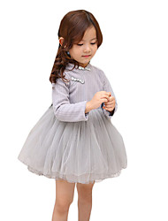Girl's Casual/Daily Solid Dress,Others Spring / Fall Pink / Gray