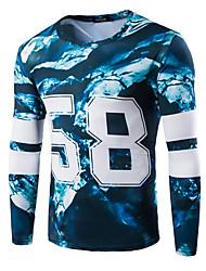Herren T-shirt-Druck Freizeit / Sport Baumwolle Lang-Blau / Grün / Lila