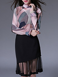Women's Casual/Daily Simple Fall Blouse Skirt,Patchwork Stand Long Sleeve Pink / Black Polyester Thin