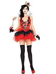 Fantasias de Cosplay / Festa a Fantasia Rainha Festival/Celebração Trajes da Noite das Bruxas Vermelho Patchwork Vestido / Mais Acessórios
