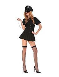 Costumes de Cosplay / Costume de Soirée Policier/Policière Fête / Célébration Déguisement Halloween Noir Couleur PleineRobe / Chapeau /