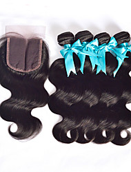 Malaysian Virgin Hair With Closure 4pcs Human Hair Bundles Body Wave With Lace Closures Unprocessed Hair