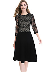 Women's Plus Size / Casual/Daily / Work Street chic Sheath / Lace DressSolid Round Neck Knee-length  Sleeve