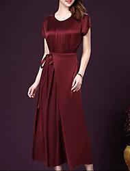 Robe Aux femmes Sortie / Grandes Tailles Vintage,Couleur Pleine Col Arrondi Midi Manches Courtes Rouge / Vert Soie Eté