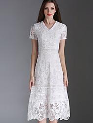 Eosciy® Damen V-Ausschnitt Kurze Ärmel Wadenlänge Kleid-70901