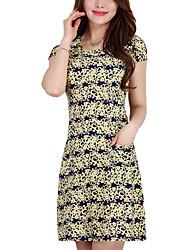 High Quality Women's Vintage / Street chic Print Plus Size / Sheath Dress,Round Neck Above Knee Cotton / Polyester