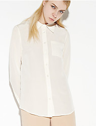 C+IMPRESS Women's Work Simple Spring / Fall ShirtSolid Shirt Collar Long Sleeve Beige Silk Thin