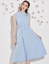 Chemise Robe Femme Décontracté / Quotidien simple,Couleur Pleine Col Ras du Cou Midi Sans Manches Bleu Polyester Eté Taille HauteNon