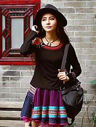 notre histoire sortir à manches longues col rond / moyen spandex chinoiserie printemps / automne t-shirtembroidered coton noir