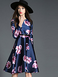 Women's Going out Sophisticated Sheath DressFloral Round Neck Knee-length Long Sleeve Blue Polyester Fall