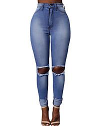 Mulheres Calças Vintage / Moda de Rua Skinny / Jeans / Chinos Poliéster Micro-Elástica Mulheres