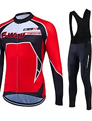 Fastcute Cycling Jersey with Bib Tights Men's Women's Unisex Long Sleeves Bike Fleece Jackets Jersey Tights Bib Tights