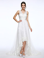 LAN TING BRIDE A-line Wedding Dress See-Through Court Train V-neck Lace Tulle with Appliques