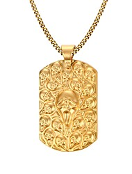 Men's Fashion Generous Personality Golden Ghost Rectangle Stainless Steel Gold Plated Pendant Necklaces(1Pc)