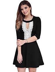 Women's Crochet Lace Keyhole Stylish Black Skater Dress