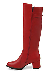 Women's Boots Fall / Winter Fashion Boots Rubber / Casual Chunky Heel Zipper Black / Red / White / Beige Others
