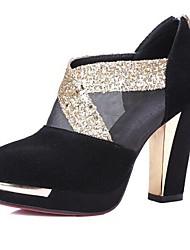 Черный-Женский-Для прогулок-Замша-На толстом каблуке-Военные ботинки-Ботинки