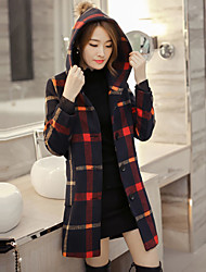 Women's Going out Street chic CoatCheck Hooded Long Sleeve Fall / Winter Red / Green Polyester Thick