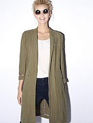 nova antes das mulheres casual / diária simples trincheira coatsolid entalhe lapela manga longa primavera / outono