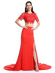 TS Couture Formal Evening Dress - Two Pieces A-line Jewel Court Train Jersey with Split Front