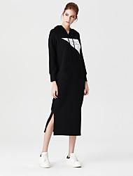Heart Soul Women's Round Neck Long Sleeve Tea-length Dress-OW15-1115A