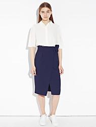 c + beeindrucken Frauen solide blau / schwarz skirtssophisticated midi