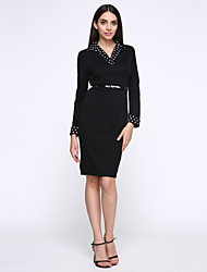Women's OL V Neck Polka Dot Stitching Plus Size Bodycon Pencil Dress
