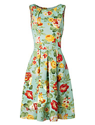Women's Vintage Chic 50s Swing Party Floral Flare Dress in Mint