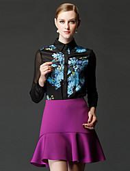 frmz Frauen solid schwarz / lila skirtssimple oberhalb des Knies