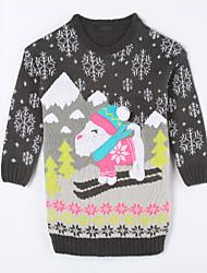 Girl's Casual/Daily Animal Print Sweater & CardiganCotton Fall Gray