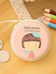 coreia do sul ferro lata redonda criativo bolsa da moeda saco bonito menina mini-fone de ouvido portátil saco de chave