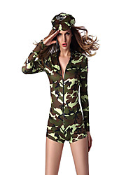Cosplay Costumes Soldier/Warrior Movie Cosplay Green Solid Leotard/Onesie / Hat Halloween / Christmas / New Year Female Polyester