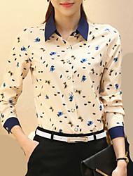 Mulheres Camisa Trabalho Plus Sizes Todas as Estações,Estampa Animal Bege Poliéster Colarinho de Camisa Manga Longa Fina